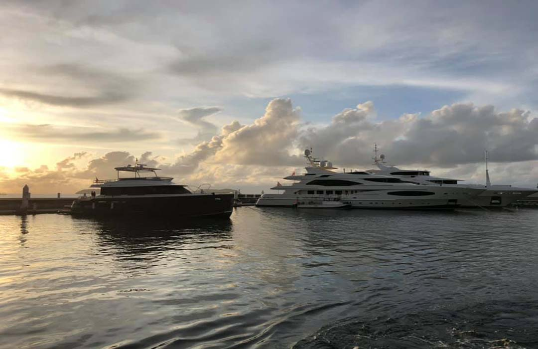 23. Sunset over KK and the SuperYachts